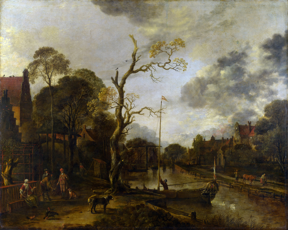 Art van der Ner. The view along the river near the village in the evening