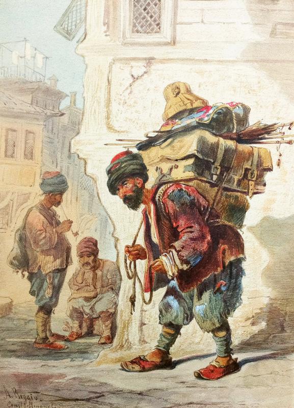 "Alexander Nikolaevich Beklemishev (Reggio). Constantinople. Copy of lithograph by A. Preziosi ""Porter"""