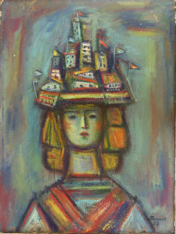 Alexander Grigoryevich Tyshler. Cute girl in fancy hat
