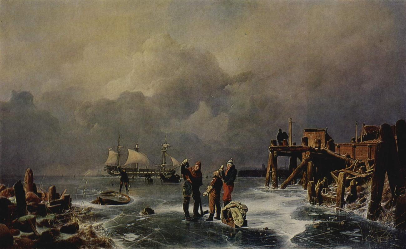 Андреас Ахенбах. Берег замёрзшего моря