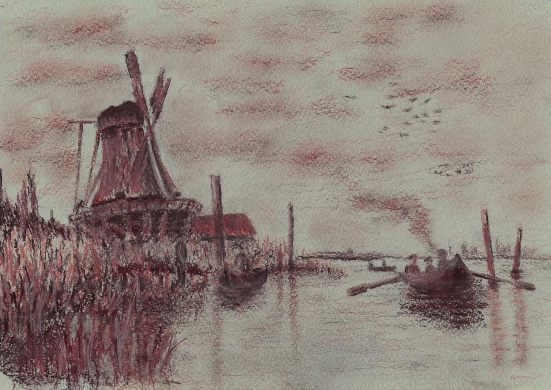 Alex Bulldoserist. Mill in Zaandam, sketch