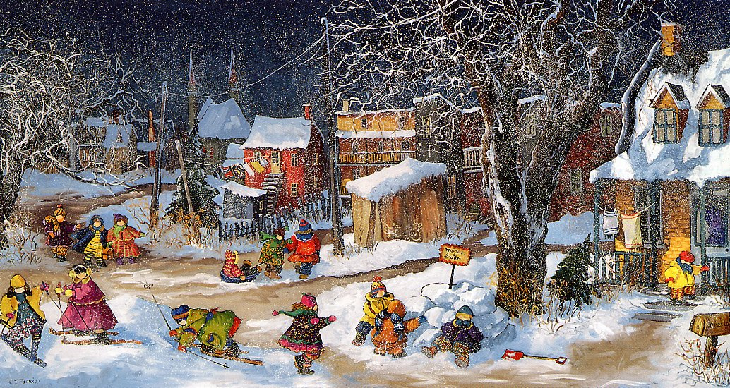 Pauline Pacuin. The snow-covered yard