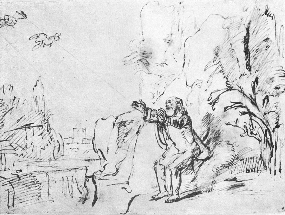 Рембрандт Ван Рейн. Ворон кормит Илию