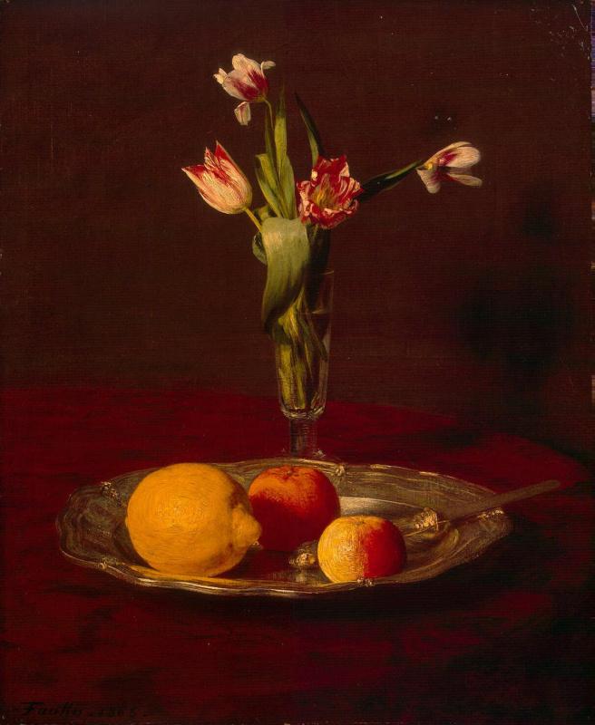 Анри Фантен-Латур. Лимон, яблоки и тюльпаны