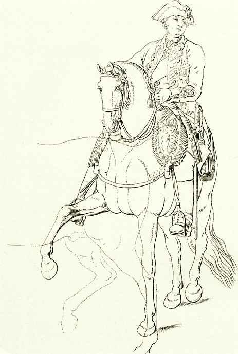 Даниэль  Николай Ходовецкий. Кронпринц, впоследствии король Фридрих Вильгельм II, на коне