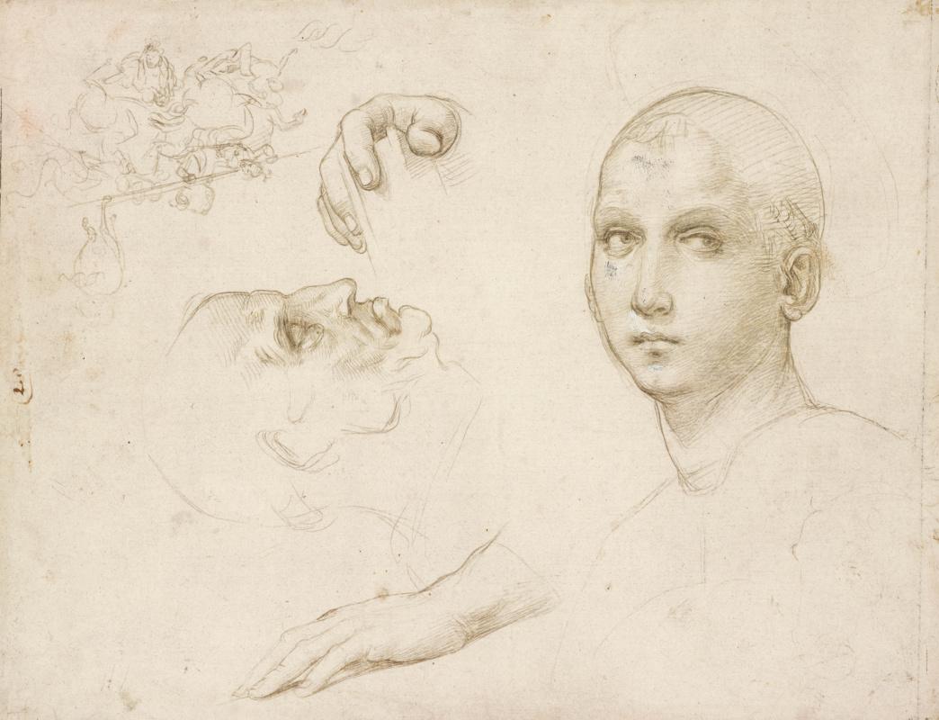 Рафаэль Санти. Эскизы головы и рук для изображения Св. Троицы