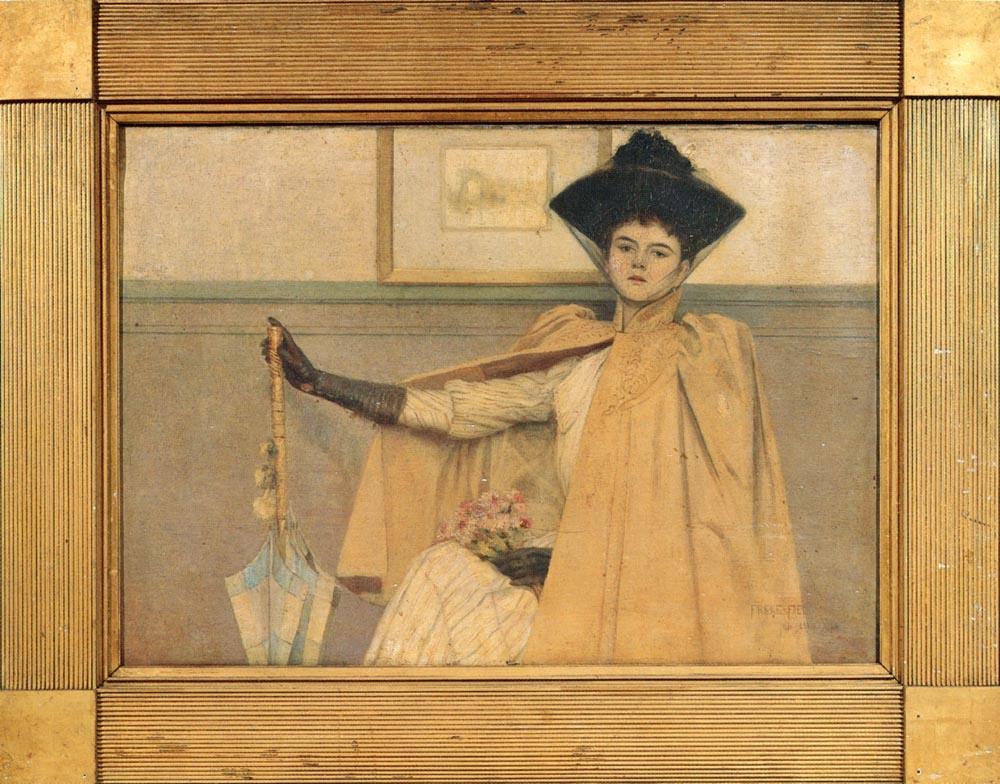 Freck Field. Lady in black hat