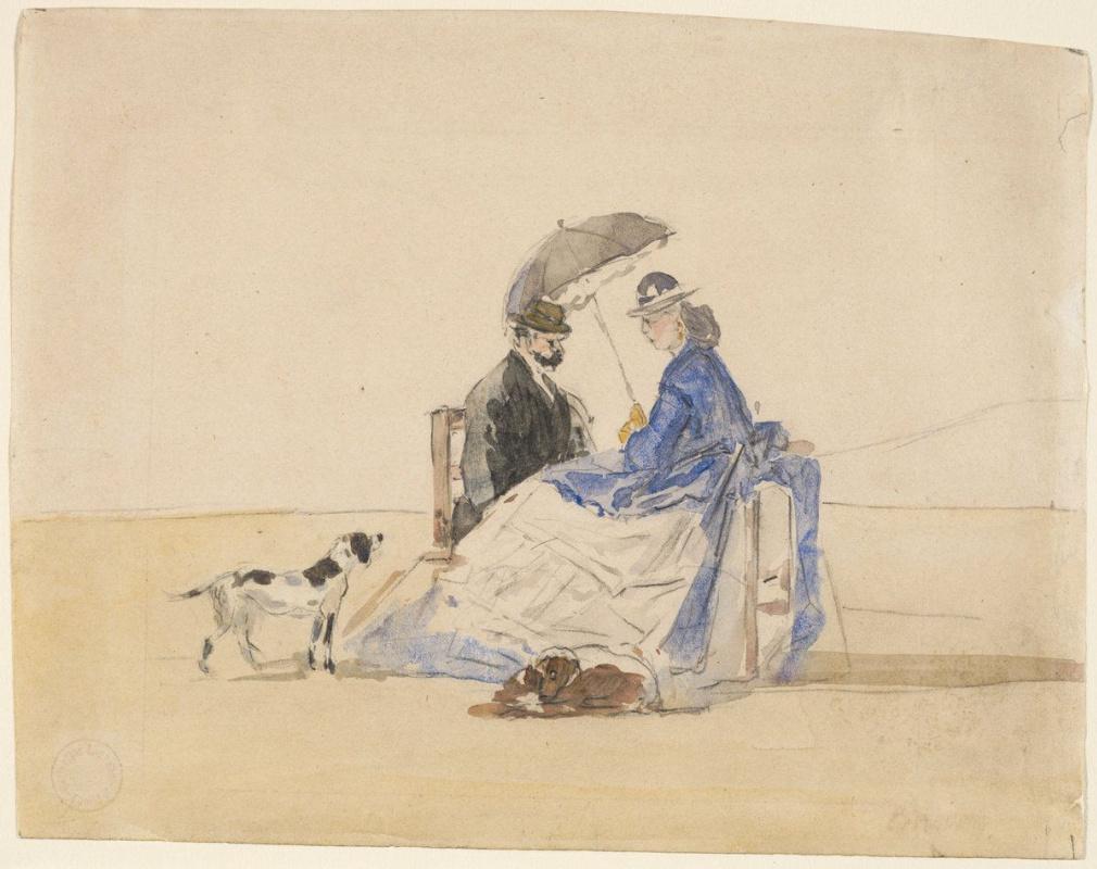 Eugene Boudin. Couple sitting on beach together