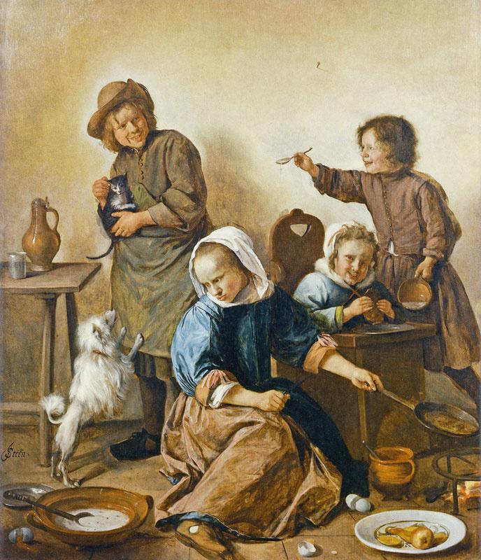 Jan Steen. Children eat Breakfast