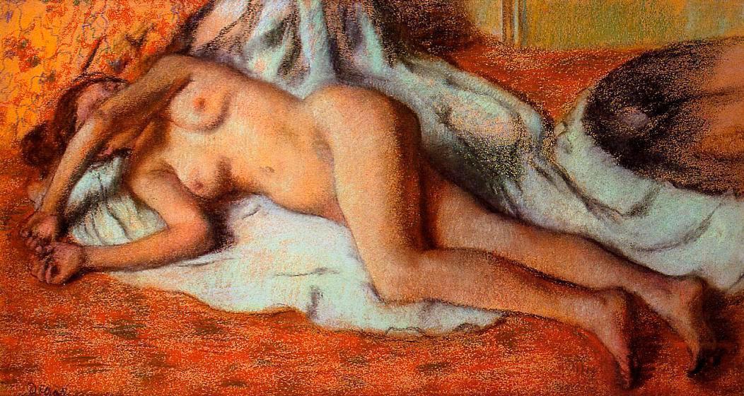 Edgar Degas. After a bath. Reclining Nude