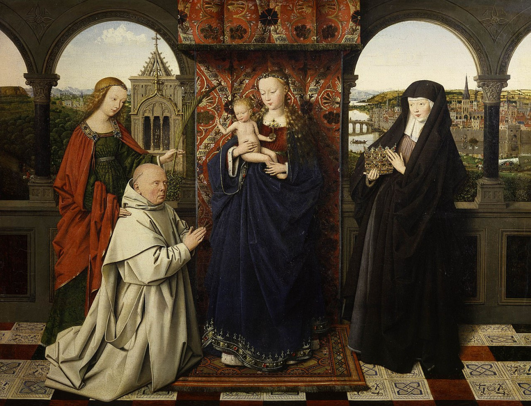 Jan van Eyck. Madonna and child with saints and a donor
