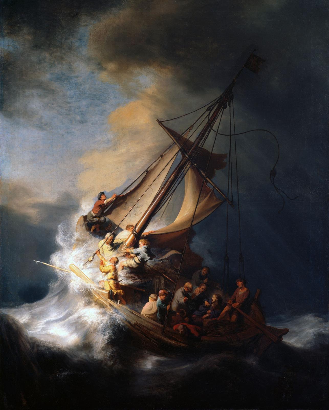 Рембрандт Харменс ван Рейн. Христос во время шторма на море Галилейском