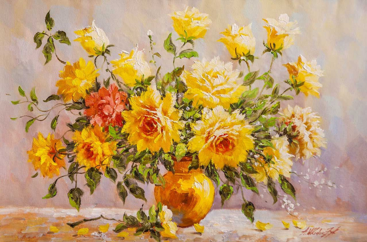 Andrzej Vlodarczyk. Bouquet with yellow roses