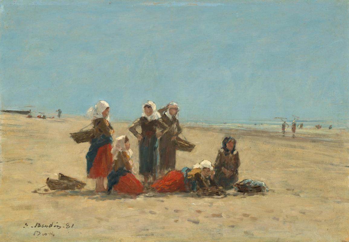 Fisherwoman on the beach in Berck