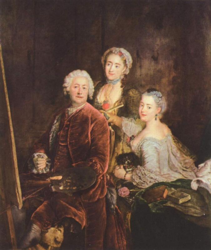 Антон Пезне. Атопортрет с дочерьми перед мольбертом