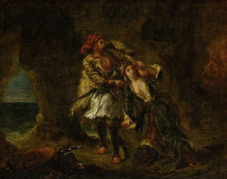 Eugene Delacroix. Abydos the bride in the cave