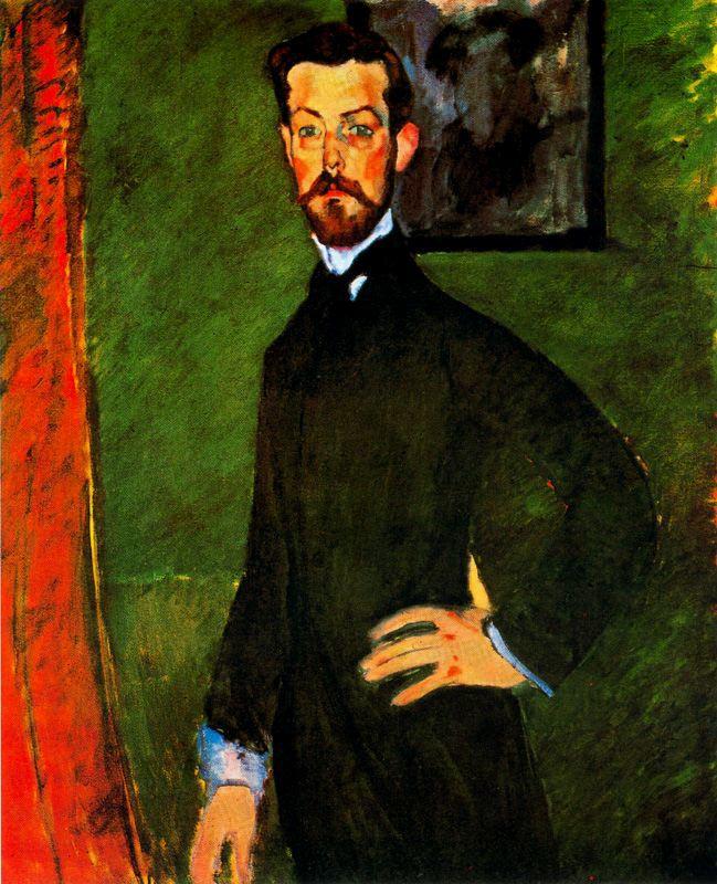 Амедео Модильяни. Портрет доктора Поля Александра на зеленом фоне