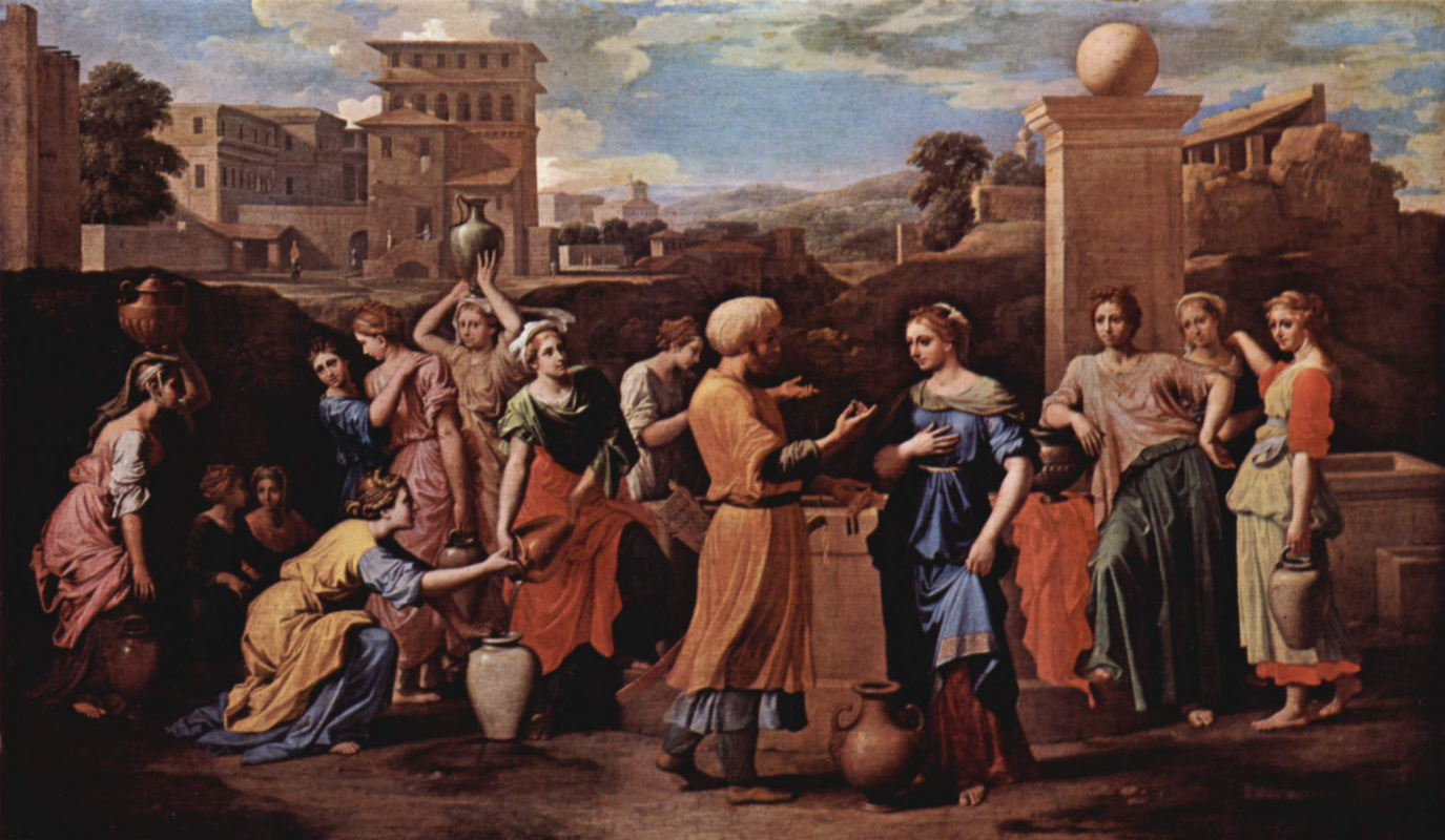 Nicolas Poussin. Rebekah at the well with Eliezer, who came to Woo her for Isaac