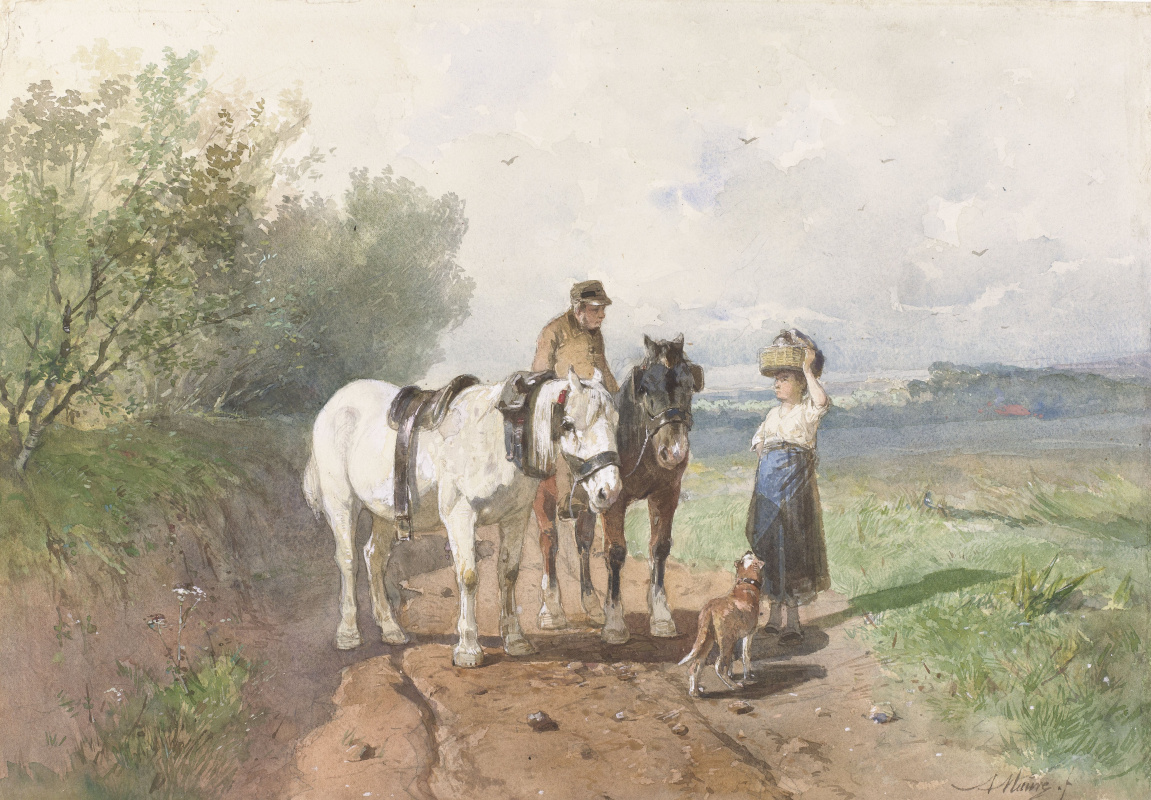 Anton Maouve. Conversation on a country road