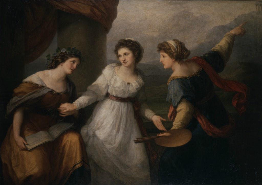 Angelika Kaufman. Self-portrait with muses (allegories of music and painting)