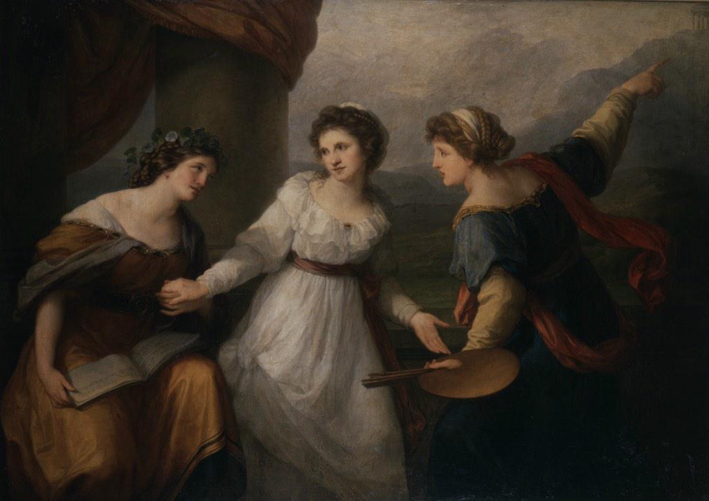 Ангелика Кауфман. Автопортрет с музами (аллегориями музыки и живописи)