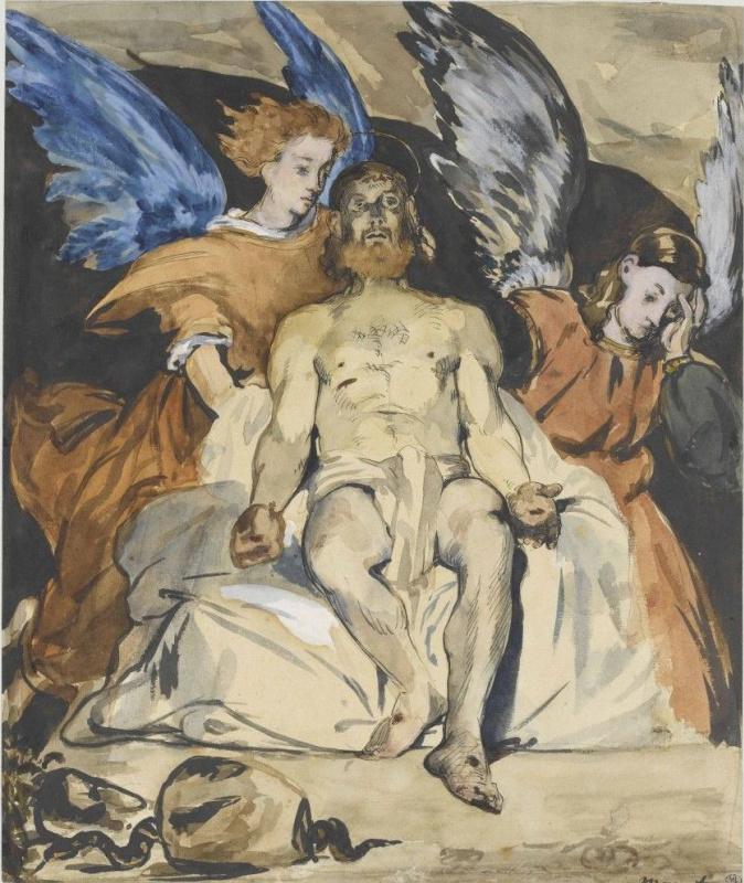 Эдуар Мане. Мертвый Христос с ангелами, эскиз