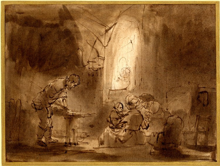 Rembrandt Harmenszoon van Rijn. The Holy Family in the Carpenter's workshop