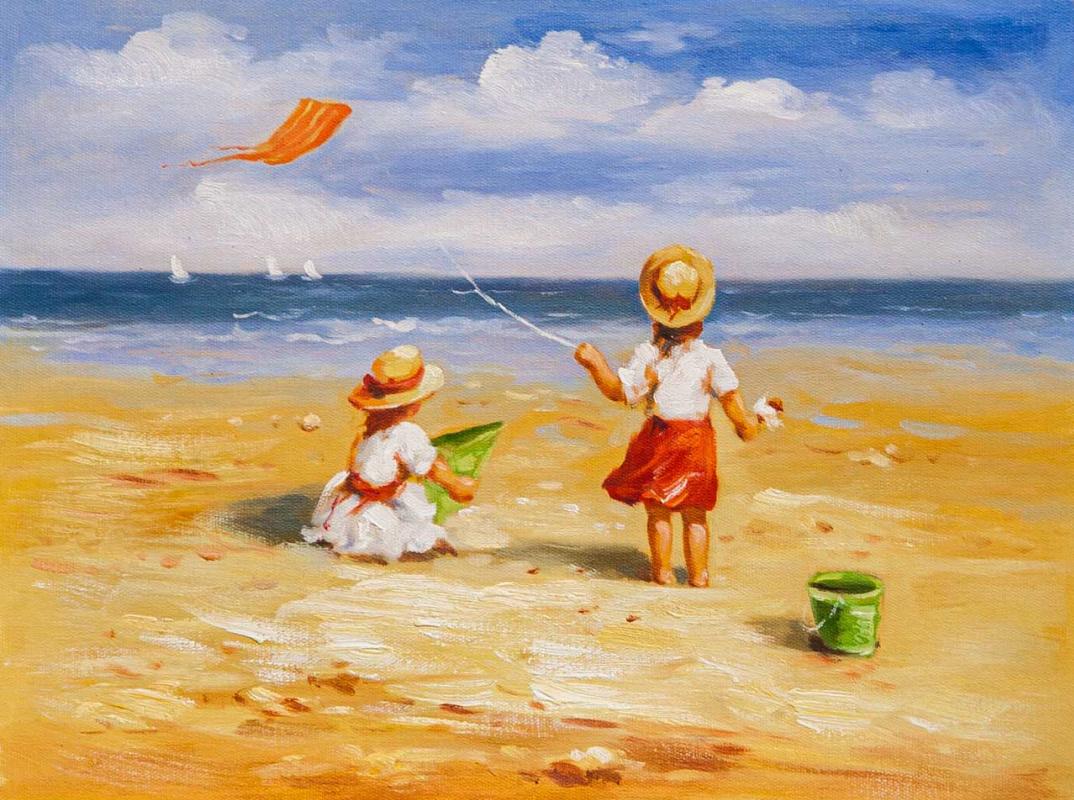 Maria Potapova. Дети на пляже. За бумажным змеем