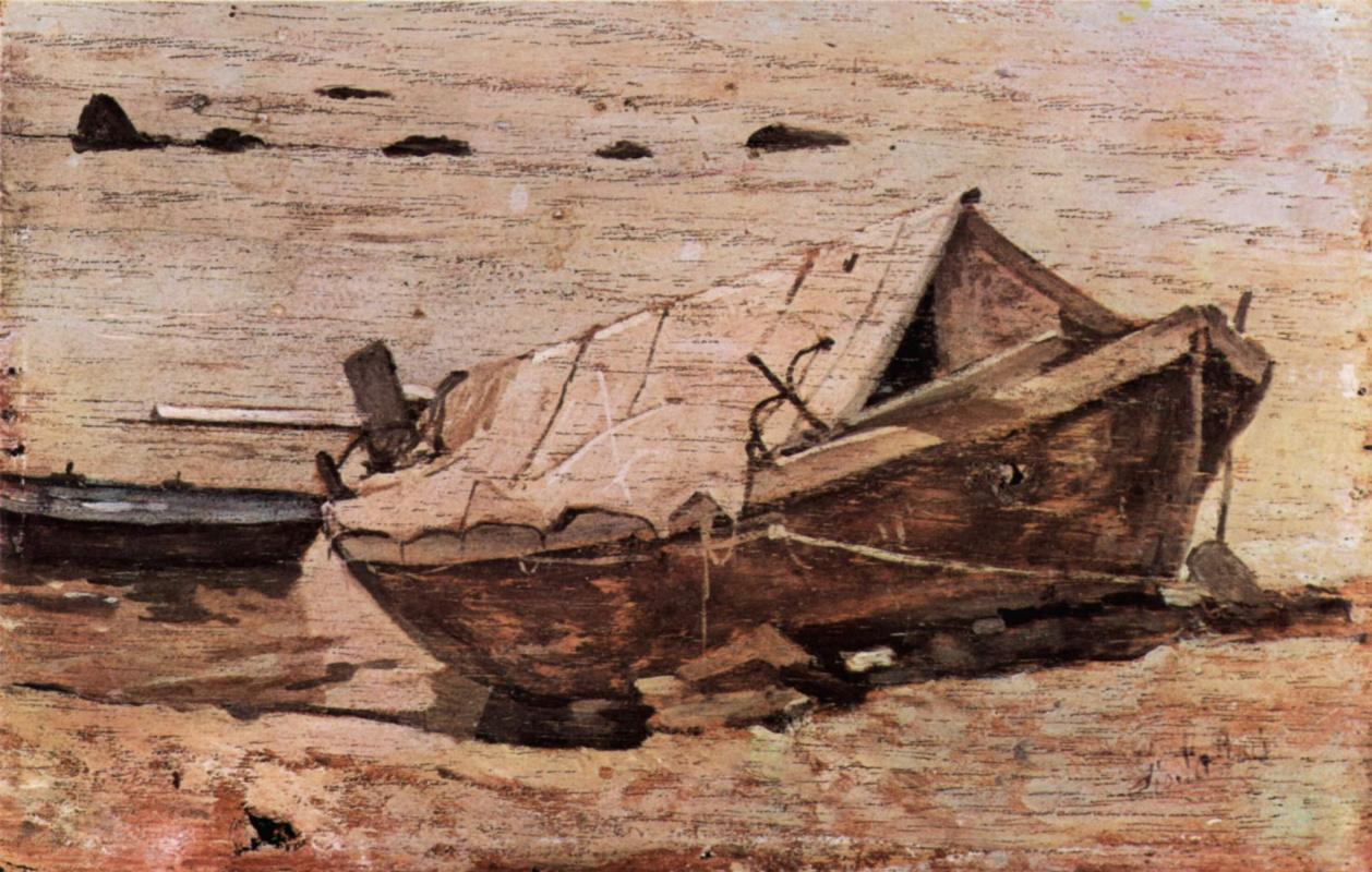 Giovanni Fattori. The beach with a small boat