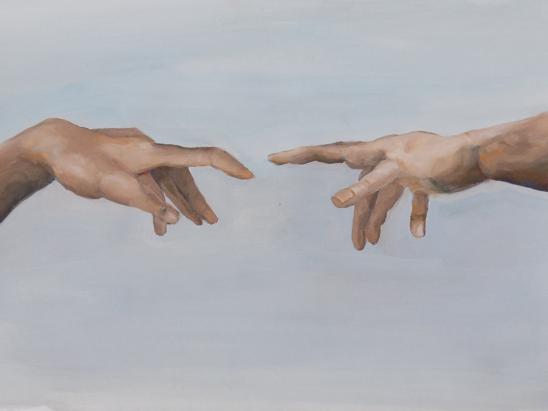 """Vasilisa Nikonorova. Copy of a fragment of the painting """"The Creation of Adam"""""""