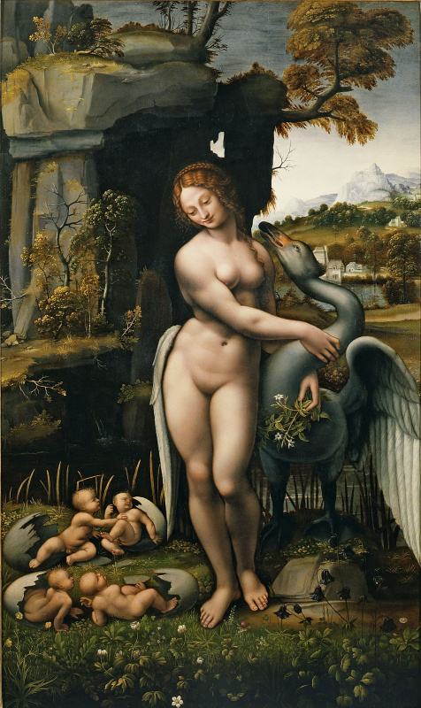 Leonardo da Vinci. Leda and the Swan (copy of a lost work of Leonardo attributed to Francesco Melzi)