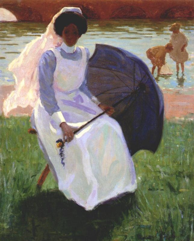 Женщина с зеленым зонтиком