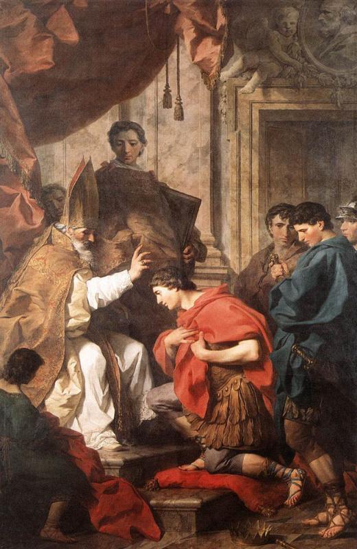 Пьер Сублеурас. Св. Амвросий отпускает грехи императору Феодосию