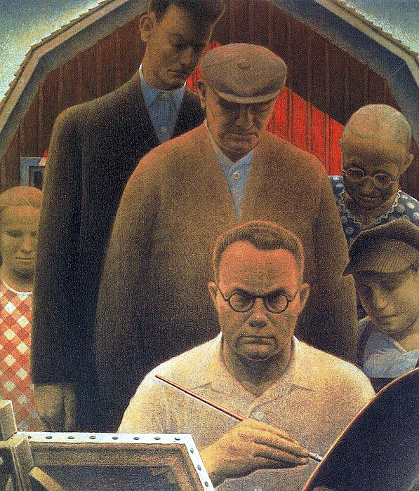 Grant Wood. Artist with palette