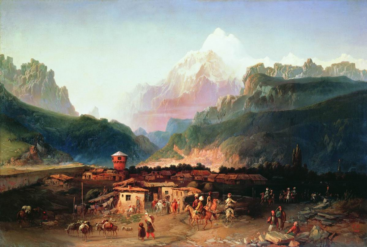 Bogdan Pavlovich Willewalde. View of Vladikavkaz. 1860