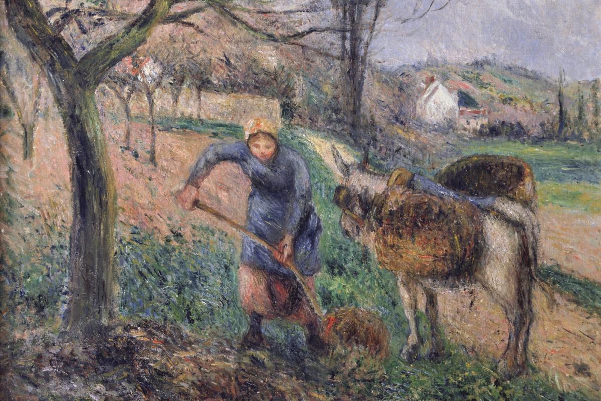 Камиль Писсарро. Пейзаж с ослом
