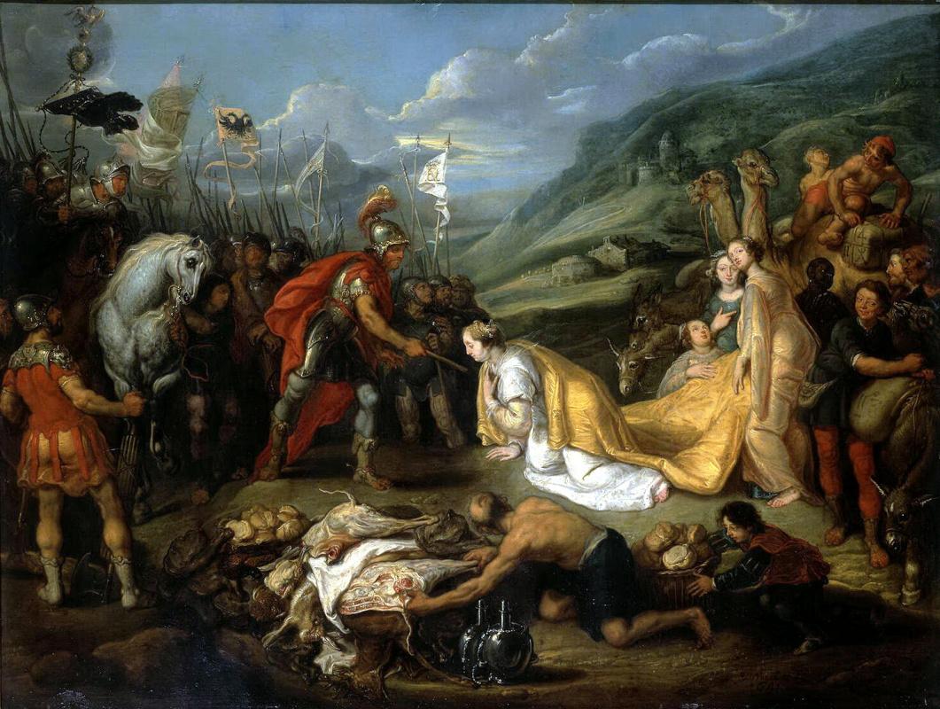 Симон де Вос. Авигея приносит Давиду дары