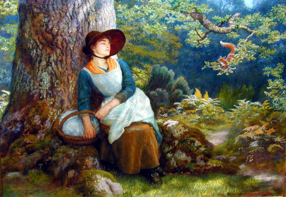 Arthur Hughes. Daytime sleep in the forest