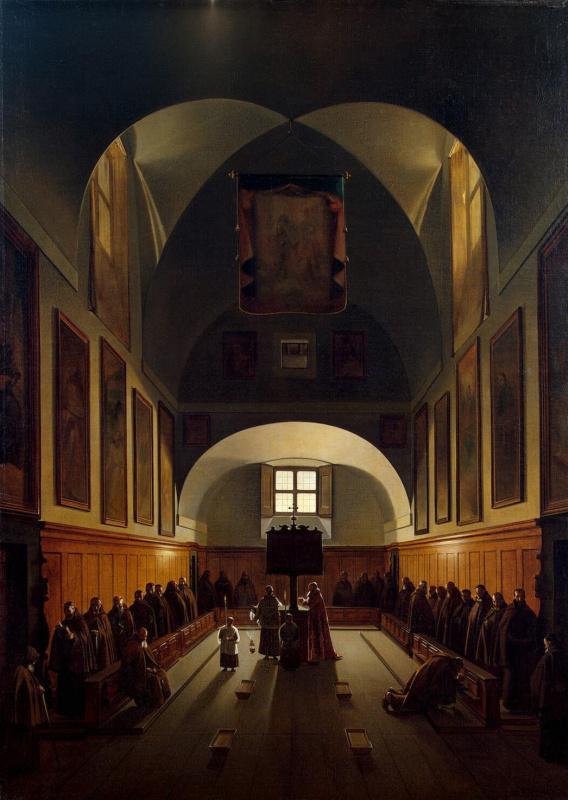 Внутренний вид хоров в церкви Капуцинского монастыря на площади Барберини в Риме