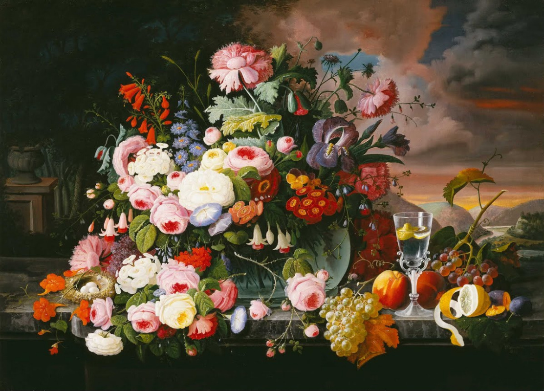 Severin Rosen. Still life with flowers and fruit with a river landscape in the distance