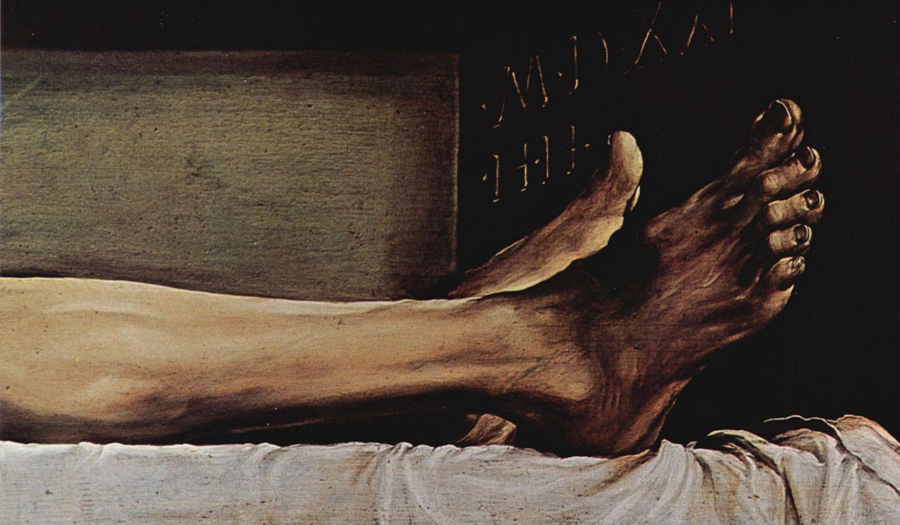Ганс Гольбейн Младший. Алтарь Ганса Оберрида в кафедральном соборе Фрайбурга, пределла: Мертвый Христос, деталь: Ноги Христа и дата