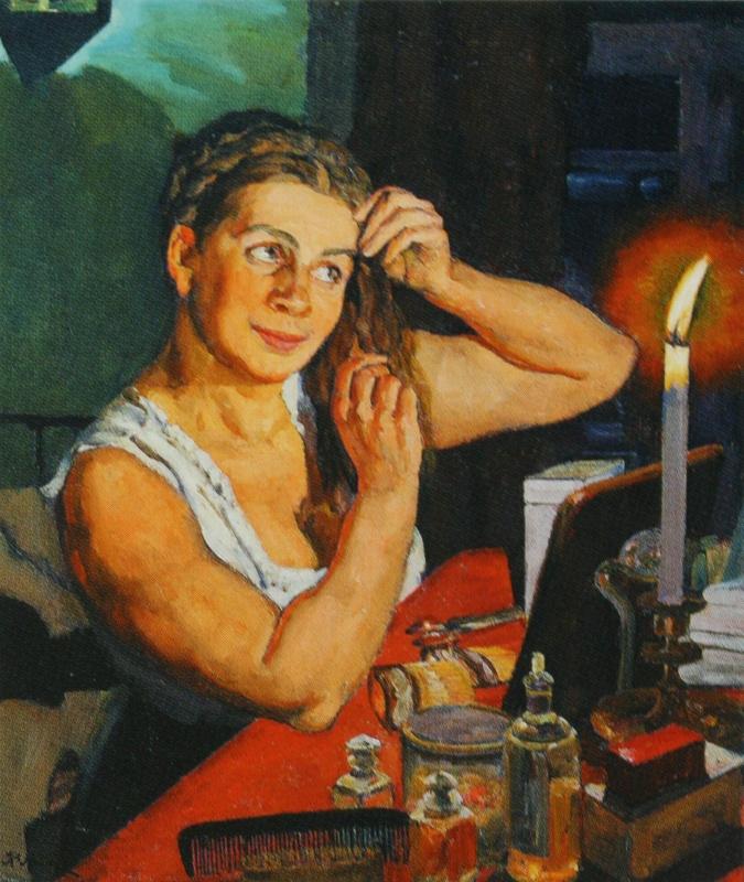 Константин Федорович Юон. Ночной час. Портрет жены художника. 1911 Темпера