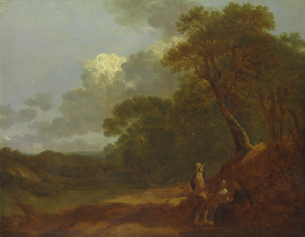Thomas Gainsborough. Wooded landscape with man talking to two seated women