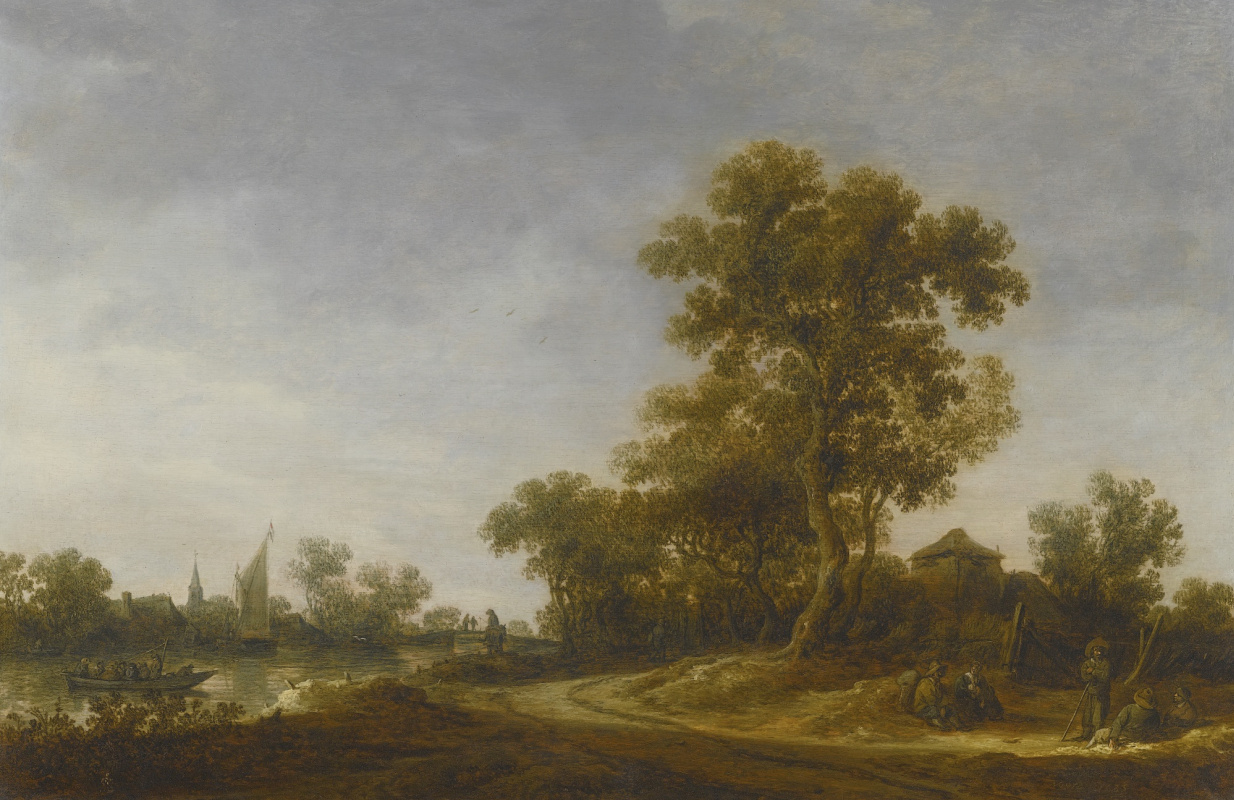Jan van Goyen. Landscape with resting travellers and fishermen returning with their catch
