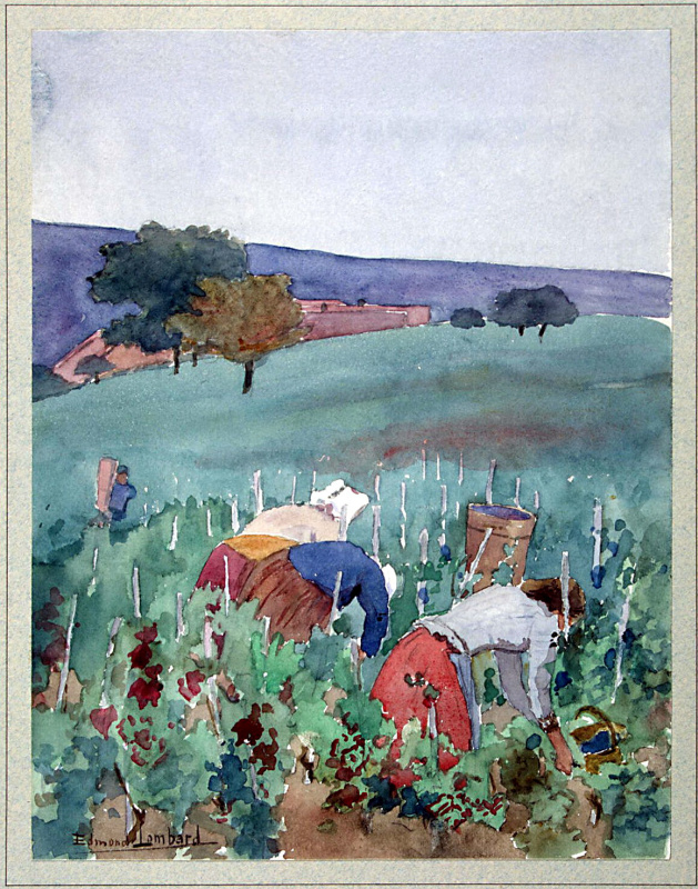 Эдмон Ломбар. Пейзаж с женщинами на винограднике