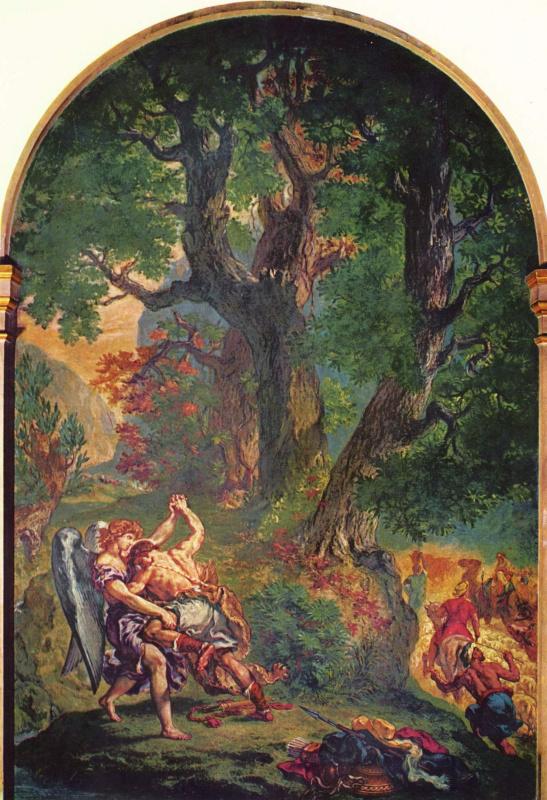 Эжен Делакруа. Церковь св. Сульпиция, Капелла св. Ангела: Борьба Иакова с ангелом