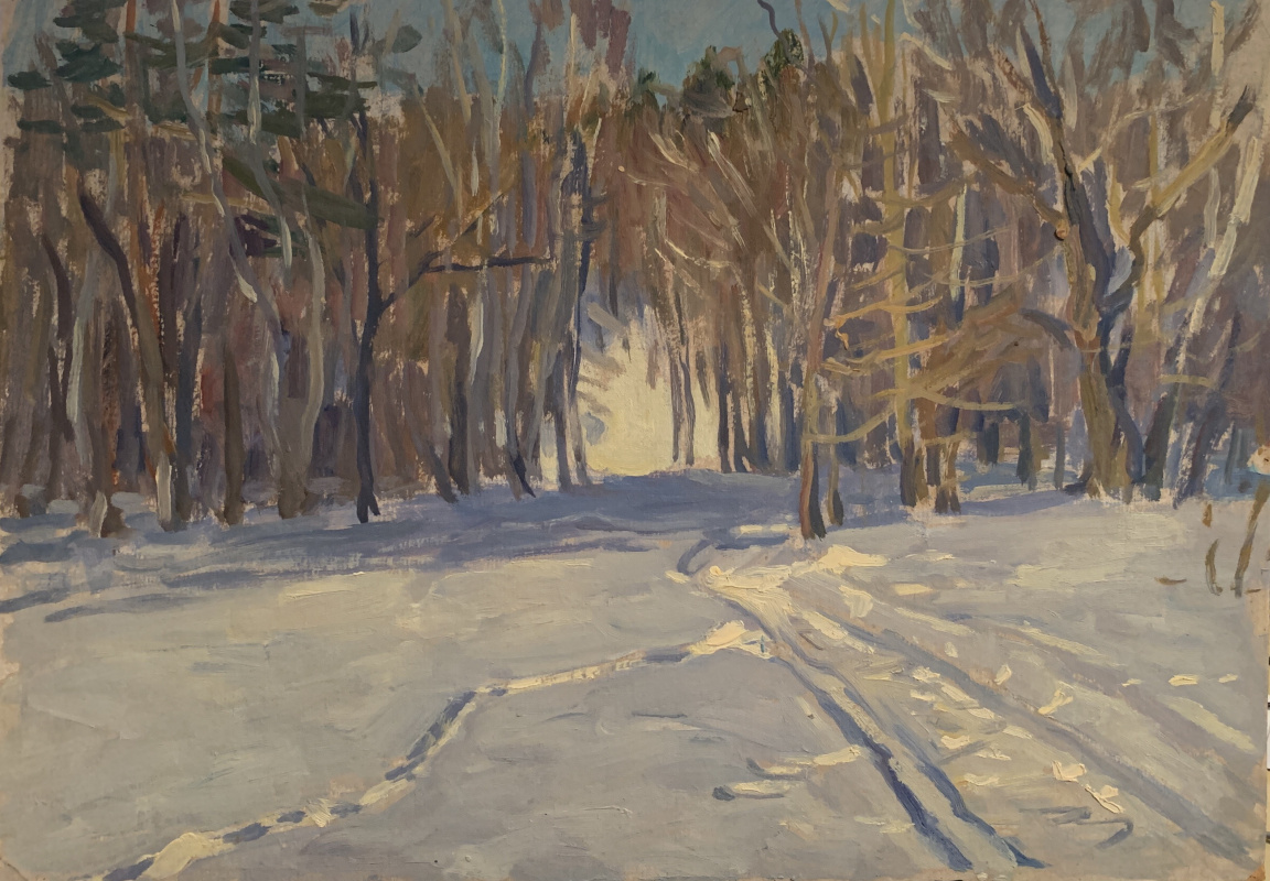 Oleg Alekseevich Dmitriev. Ski run in the forest