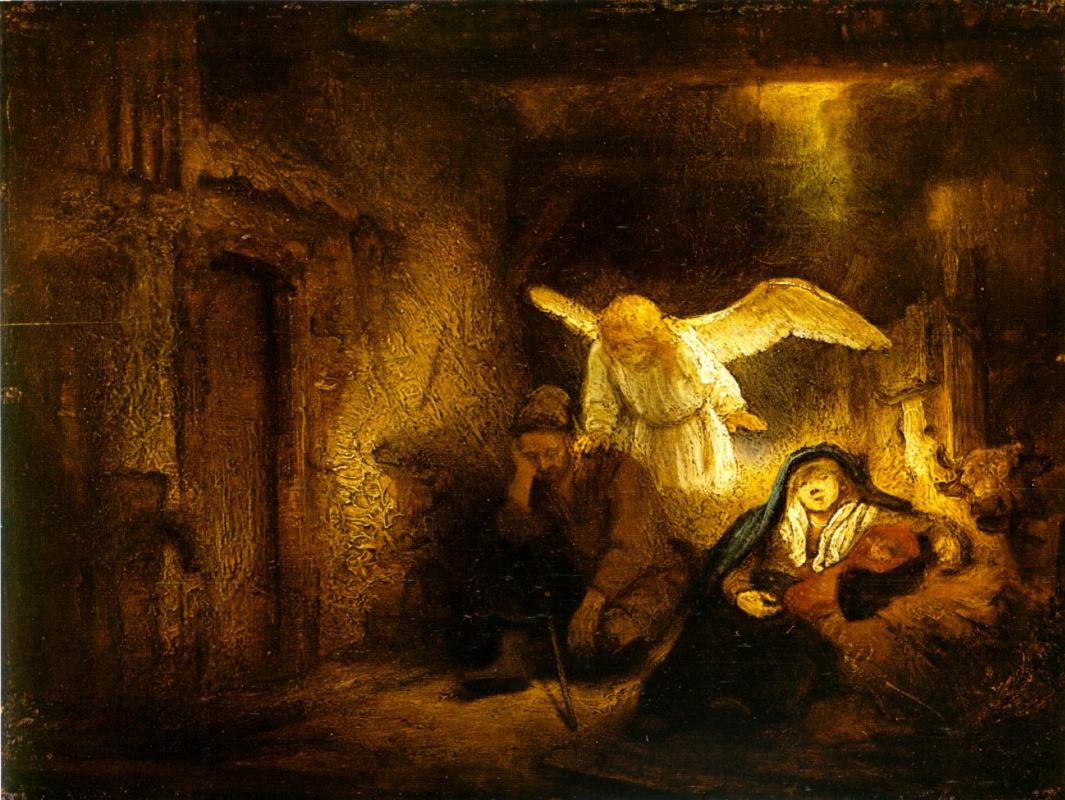 Рембрандт Харменс ван Рейн. Сон Иосифа в хлеву в Вифлееме