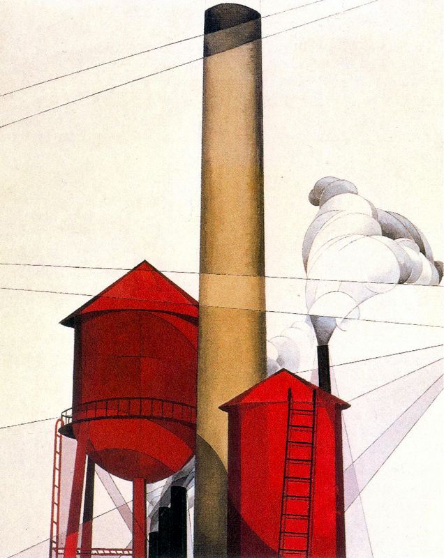 Чарльз Демут. Труба и водонапорная башня