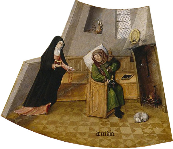 Hieronymus Bosch. Depression. The seven deadly sins and the Four last things. Fragment